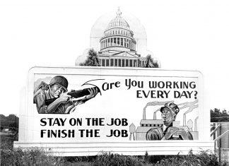 Billboard from 1944 Oak Ridge, Tennessee, USA. Photo: Ed Westcott 6-5-1944 Oak Ridge Tennessee. Public Domain.
