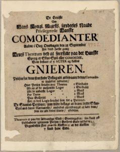 Gnieren. Fra Det Kgl. Biblioteks Teatersamling med teaterplakater fra Teatret i Lille Grønnegade, 1722. (CC BY-NC-ND 4.0).