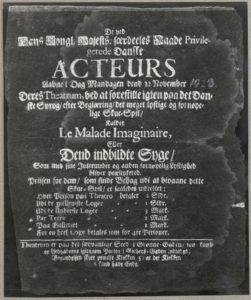 Le Malade Imaginaire eller Dend indbildte Syge. Fra Det Kgl. Biblioteks Teatersamling med teaterplakater fra Teatret i Lille Grønnegade, 1723. (CC BY-NC-ND 4.0).