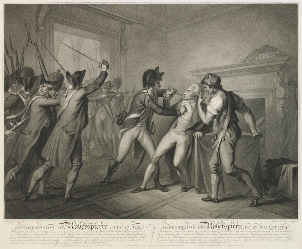 Arrest of Robespierre, on July 27,1794. Engraved by Michael Sloane (17 ..- 18 ..), engraver. Based on a work by the painter G.P. Barbier (17 ..- 18 ..). Collection: National Library of France. Current location: Department of Prints and Photography. Public Domain.