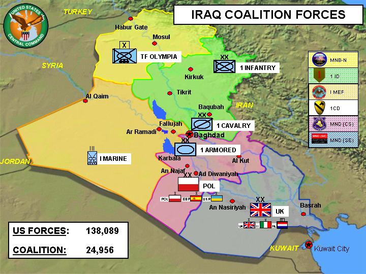 Dispositions of U.S. and allied forces in Iraq, as reported in a Pentagon press briefing of April 30, 2004. Public Domain.