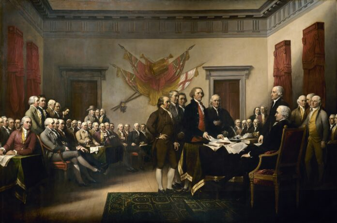 Declaration of Independence, 4. juli 1776. Oil on canvas painted in 1819 by John Trumbull (1756–1843) depicting the five-man drafting committee of the Declaration of Independence presenting their work to the Congress. The painting can be found on the back of the U.S. $2 bill. The original hangs in the US Capitol rotunda. Collection: United States Capitol. Source/Photographer: US Capitol. Public Domain. Se below 4 July 1776.