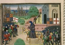 """An illustration of the priest John Ball (""""Jehã Balle"""") on a horse encouraging Wat Tyler's rebels (""""Waultre le tieulier"""") of 1381, from a ca. 1470 manuscript of Jean Froissart's Chronicles in the British Library. There are two flags of England (St. George's cross flags) and two banners of the Plantagenet royal coat of arms of England (quarterly France ancient and England), and an implausible number of unmounted soldiers wearing full plate armour among the rebels. Artist: Unknown medieval artist illustrating Froissart's Chronicles in the last quarter of the 15th century, before 1483. Collection: Detail of British Library manuscript """"Royal 18 E. I f.165v"""". Public Domain."""
