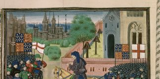 "An illustration of the priest John Ball (""Jehã Balle"") on a horse encouraging Wat Tyler's rebels (""Waultre le tieulier"") of 1381, from a ca. 1470 manuscript of Jean Froissart's Chronicles in the British Library. There are two flags of England (St. George's cross flags) and two banners of the Plantagenet royal coat of arms of England (quarterly France ancient and England), and an implausible number of unmounted soldiers wearing full plate armour among the rebels. Artist: Unknown medieval artist illustrating Froissart's Chronicles in the last quarter of the 15th century, before 1483. Collection: Detail of British Library manuscript ""Royal 18 E. I f.165v"". Public Domain."