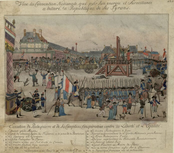 The execution of Robespierre and his supporters on 28 July 1794.(Numbers corresponding with numbers on the drawing) 1. Cidevant grade Furniture; 2. Entrance of the cidevant Jardin des Thuileries to the Place de la Révolution; 3. Le faubourg St. Germain; 4. Sanson the executor of Paris; 5. The traitor Lebas who burned his brain; 6. Traitor Couthon already executed; 7. The head of the said scoundrel; 8. Traitor Robespierre the Younger; 9. Hanriot former commander of the Paris National Guard; 10. The tyrant Robespierre the Elder; 11. Dumas former president of the Revolutionary Court; 12. The scoundrel Saint-Just; 13. Lescot Fleuriot ex Maire de Paris; 14. The other 14 accomplices suffocated on 2 carts; Collection: Bibliothèque nationale de France. Artist: Unknown. Public Domain.