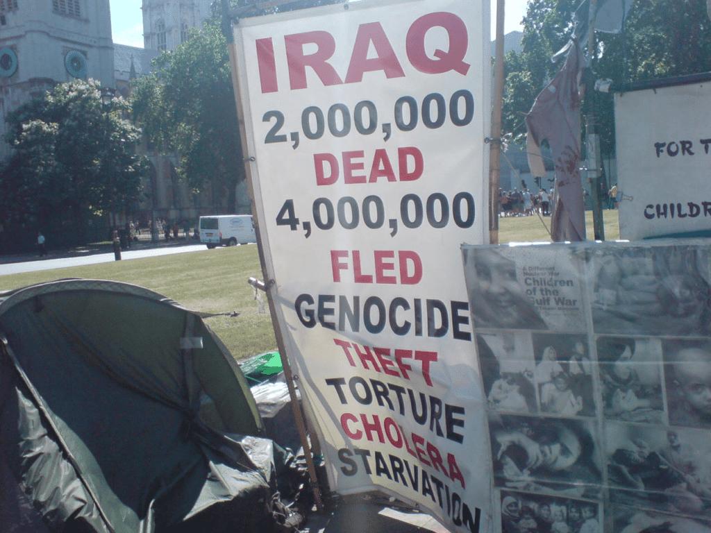 Iraq War Protesters in Parliament Square. 01/07/08. Photo: Ijanderson977. Public Domain.