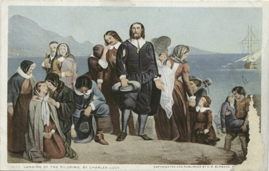 Landing of the Pilgrims. From painting by Charles Lucy (1814–1873), British artist. Issued as postcard between 1898-1631 by Publisher: Detroit Publishing Company. Source: New York Public Library. Public Domain.