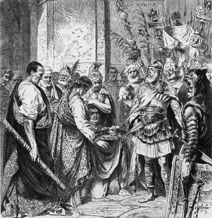 Romulus Augustulus resigns the Roman crown to an Odoacer. 19th century illustration. Artist: Unknown. Public Domain.