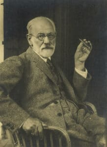 Portrait of Sigmund Freud, ca. 1921. Photo: Max Halberstadt (1882-1940), German Photographer, and married to Freud's daughter Sophie from 1813-1920, where shie died from Spanish Flu. Public Domain.