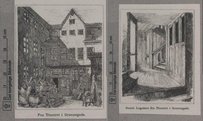 Grafik fra Theatret i Grønnegade. Til venstre Theatret og til højre Gamle Logedøre fra Theatret. Datering og kunstner ikke oplyst. Fra Det Kgl. Biblioteks Billedsamling. (CC BY-NC-ND 4.0).