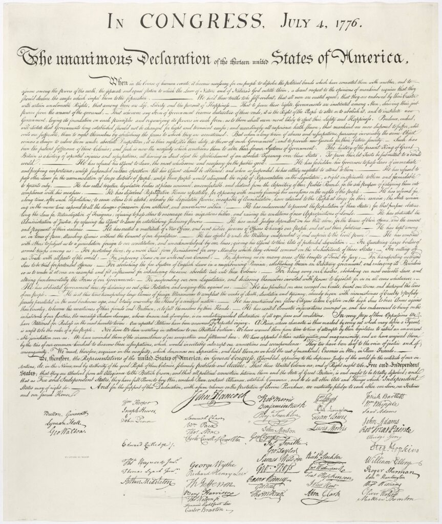 This is an image of the United States Declaration of Independence (article - text). This image is a version of the 1823 William Stone facsimile — Stone may well have used a wet pressing process (that removed ink from the original document onto a contact sheet for the purpose of making the engraving). Date: 4 July 1776 (ratification); 1776-07-02 (approval and signing). Author original: Second Continental Congress; reproduction: William Stone. Public Domain.