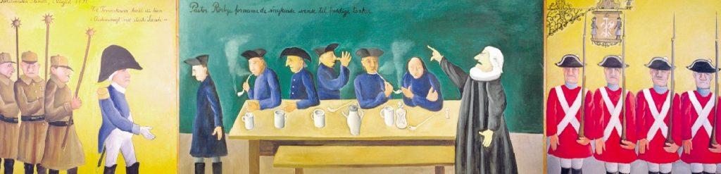 """Tømrerstrejken 1794 - Maleri af Hans Scherfig (1977) Teksterne på maleriets felter (fra venstre): """"Politimester Flindt, 1. august 1794/ Til Tømrerkroen kækt du kom / i Ordensmagt med stærke Svende - / Pastor Rørbye formaner de strejkende svende til fredelige tanker"""". Hans Scherfigs maleri (1977) af Tømrerstrejken. Tømrerne på kroen i Adelgade, hvor de opsøges af både politi og kapellan. Maleriet hang tidligere i Land & Folks kantine. Siden 1980 hænger det i ABA's mødesal Fra artiklen Tømrerstrejken 1794 på Leksikon.org."""