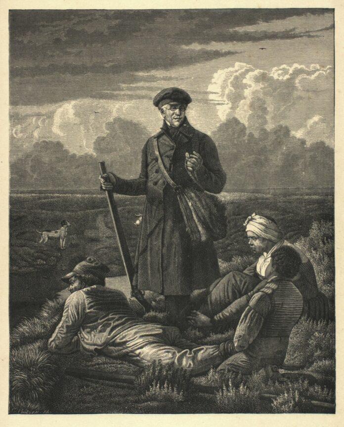 Steen Steensen Blicher (1782-1848), digter i samtale med 3 tatere på heden. Grafik lavet i 1882 af Carl Peter Poulsen (1855-1935), xylograf. Public Domain.