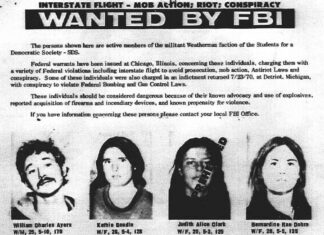 Members of the Weather Underground pictured on the FBI's Most Wanted list in 1970.