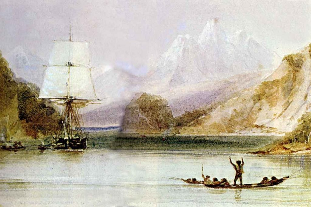 From The Illustrated Origin of Species. HMS Beagle in the seaways of Tierra del Fuego, painting by Conrad Martens (1801-1878) during the voyage of the Beagle (1831-1836), from The Illustrated Origin of Species by Charles Darwin, abridged and illustrated by Richard Leakey. Date: between 1831 and 1836. Public Domain. Date: between 1831 and 1836. Public Domain.