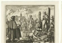 Maria van Beckum and her sister-in-law Ursel burned in Delden, 1544. The Baptist Mary of Beckum chained to a stake at the front right to be burned. On the left her sister-in-law Ursel, held by a servant of the law. Soldiers and bystanders in the background. Etching made in 1683-1685 by Jan Luyken (1649–1712), Dutch engraver, poet, painter and writer. The prints used as illustrations for: Theater des martyrs, depuis la mort de J. Christ jusqu'à present (...). = Schau-buhne der Martyrer, P. van der Aa, Leiden ca. 1715, no. 57. The prints were originally made for and first used in: T.J. van Bragt, The bloody scene, or Martelaer's mirror of the baptized-minded or unrelenting Christians, 1685. Collection: Rijksmuseum, Amsterdam, Nederlands. Public Domain.