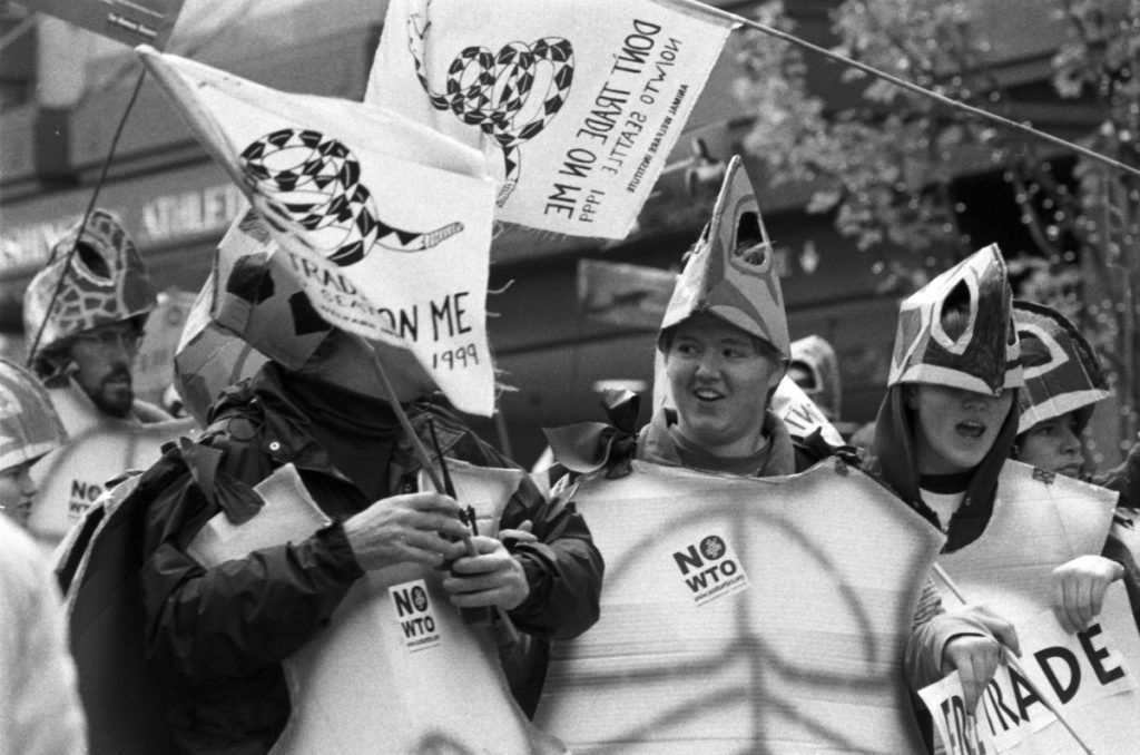 """Protests against the 1999 World Trade Organization Ministerial Conference, Seattle, Washington. The """"sea turtle"""" protestors."""" 29 November 1999. Source: Item 175624, Fleets and Facilities Department Imagebank Collection (Record Series 0207-01), Seattle Municipal Archives. Author: Seattle Municipal Archives from Seattle, WA. (CC BY 2.0). Source: Wikimedia Commons."""