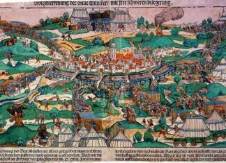 "The city of Münster under siege by prince bishop Franz von Waldeck in 1534. The picture shows the first attack at Pentecost. The text below the image says: ""A verzeychnung der Stat Munster with every opportunity / mauren / thüren / pinnacles / wading / closets / pasteyen / unnd geweren / watergreben. Also like that of irem Bischoff on the Friday before Pentecost / MD xxxiiii. Jars berennt / (and?) Zibben casual ringhweis .... to hand over / and afterwards ran to Sant Egidien evening at five locations / and were violently stormed. as some say / at three thousand! God ..."" Colored woodcut with type printing from 1535 by Erhard Schoen (c. 1491–1542), German woodcut designer and painter. Collection: Westphalian State Museum for Art and Cultural History, Münster. Public Domain."