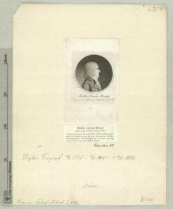 """Malthe Conrad Bruun (1775-1826) digter, satirisk forfatter, geograf. Billedtekst bl.a.: """"Rousseau ham Hjerte gav, Voltaire gav ham vid"""". Fra Det kgl. Biblioteks Billedsamling. Grafik af Gilles-Louis Chretien (1754-1811) fransk kobberstikker. (CC BY-NC-ND 4.0)."""