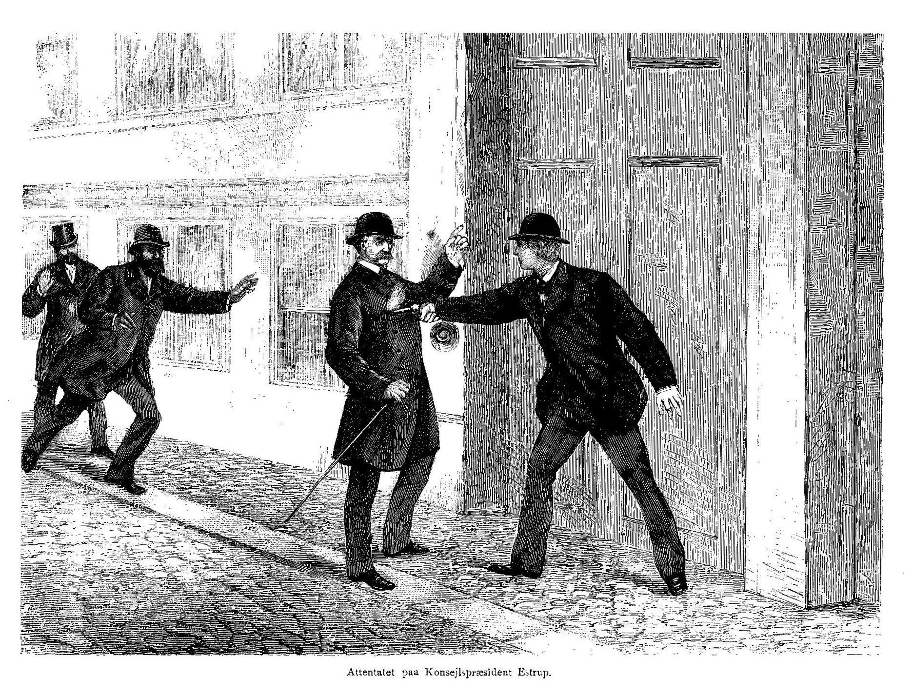 Julius Rasmussens mislykkede mordforsøg på den danske råds præsident J.B.S. Estrup den 21. oktober 1885 i København. Træsnit fra Illustreret Tidende, 25. oktober 1885. Tegner: Ukendt. Public Domain.
