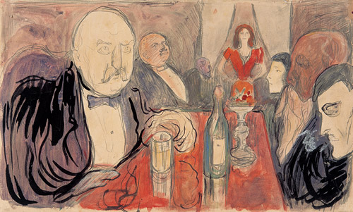 Christiania Bohemen fra 1895 af Edvard Munch (1863-1944). Public Domain.