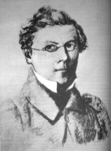 Self-portrait by Fritz Reuter from 1833. Public Domain.