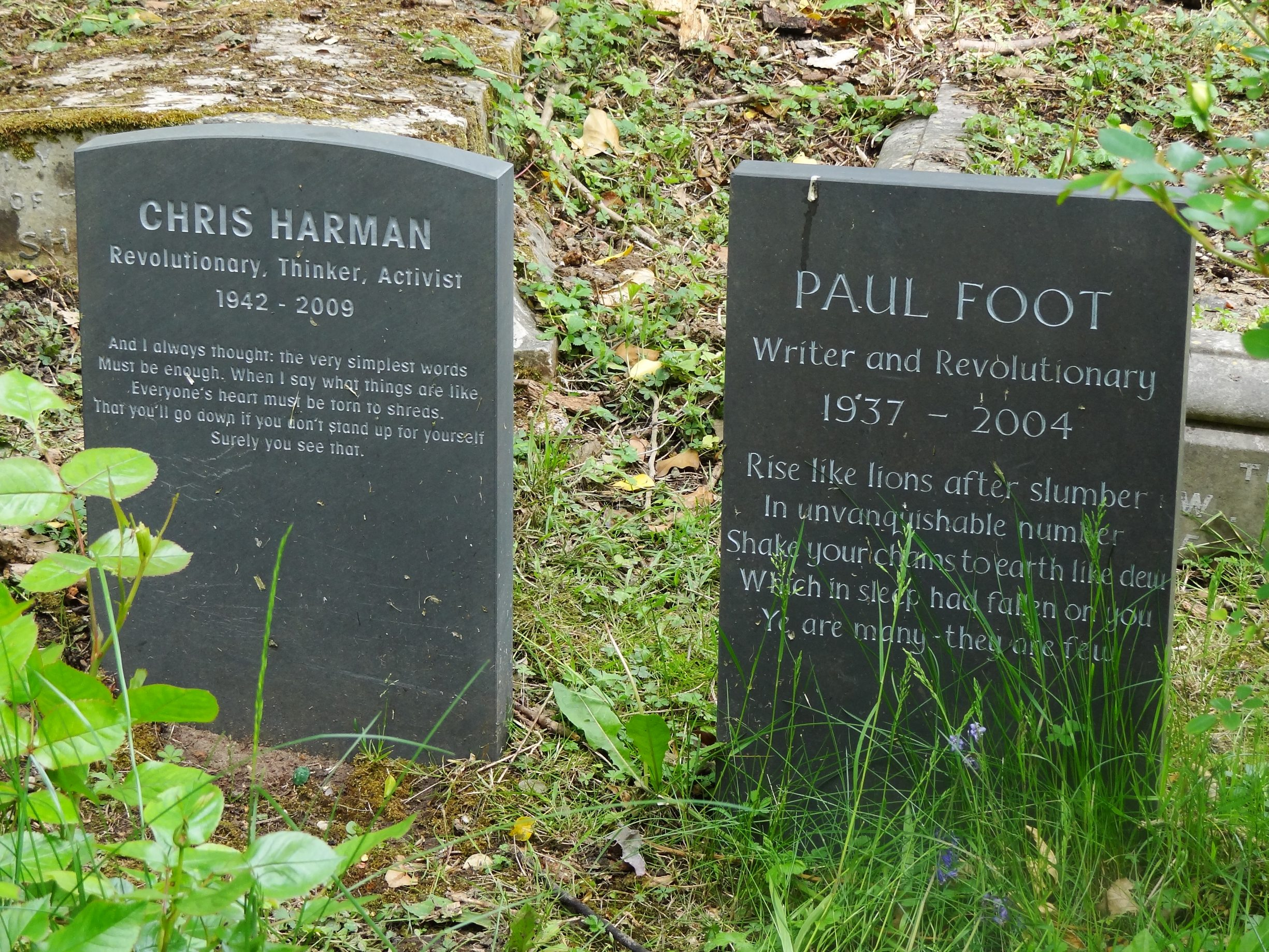 "Graves of Chris Harman and Paul Foot side by side at Highgate Cemetery in north London. Date: 26 May 2013. Author: Ben Sutherland from Crystal Palace, London, UK. (CC BY 2.0). Source: <a href=""https://commons.wikimedia.org/wiki/File:Graves_of_Chris_Harman_and_Paul_Foot_at_Highgate_Cemetery_in_north_London_(8854155734).jpg"">Wikimedia Commons.</a>"