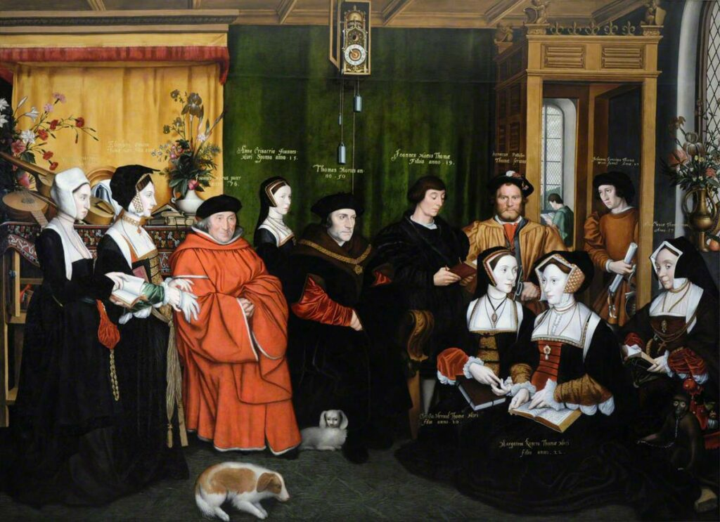 Sir Thomas More and his Family (after Hans Holbein the Younger). Oil on canvas painted 1592 by Rowland Lockey (1565–1616), British painter and goldsmith. Collection: National Trust for Places of Historic Interest or Natural Beauty, England, Wales and Northern Ireland. Public Domain.