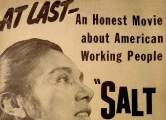 "Poster promoting the theatrical premiere of the 1954 American film Salt of the Earth at a (now demolished) theater on 86th Street in Manhattan. Mexican actress Rosaura Revueltas, who played the leading role, is shown. The poster had four ""pages"", as it was folded and two-sided; this is the ""front"" side. Published: by the film's distributor, Independent Productions Co. Public Domain."