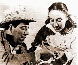 Screenshot from the film: Salt of the Earth. Rosaura Revueltas as Esperanza Quintero and Juan Chacón as Ramon Quintero. Public Domain.