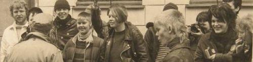 Martin Kat skrider fronten af i Wesselsgade, efteråret 83. Foto: privatfoto