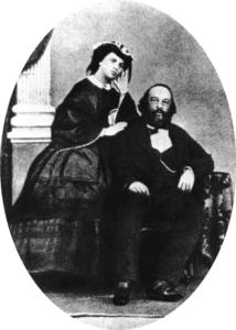 Mikhail Bakunin and his wife Antonia Kwiatkowska before Bakunins escape from Siberia. Date: 3 June 1861. Photo: Unknown. Public Domain.