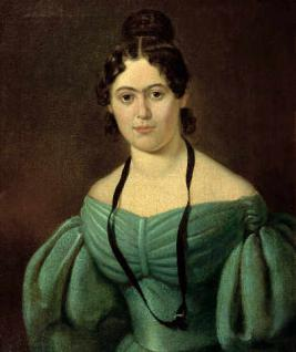 Jenny Marx (1814-1881) in green dress. Painting of unknown painter. Circa 1835. Photo: Unknown. Public Domain.