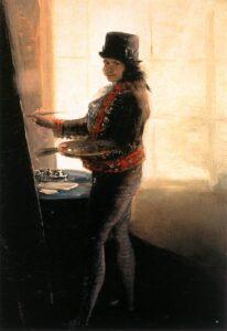 Self-portrait in the Studio. Oil on canvas painted between 1790 and 1795 by Francisco Goya (1746–1828), Spanish painter, printmaker, lithographer, engraver and etcher. Collection: Instituto de España, Real Academia de Bellas Artes de San Fernando, Madrid, Spain. Public Domain.