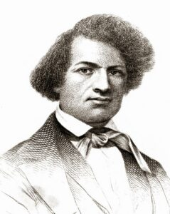 Cropped version of A sketch of Douglass, from the 1845 edition of Narrative of the Life of Frederick Douglass, An American Slave. Tegnet af Frederich Douglass. Public Domain.