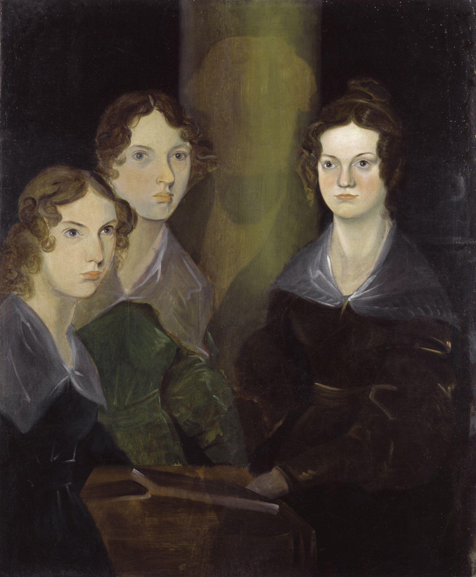 The Brontë Sisters (Anne Brontë; Emily Brontë; Charlotte Brontë), circa 1834. Oil on canvas painted by the brother Branwell Brontë (1817–1848). The original is placed on the British National Portrait Gallery. Digitally restored by National Portrait Gallery. Public Domain.