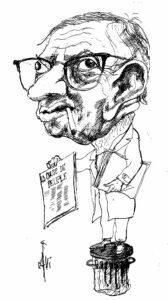 Jean-Paul Sartre sælger den Maoistiske avis La Cause du Peuple. Tegner: Calvi. (CC BY-SA 4.0).