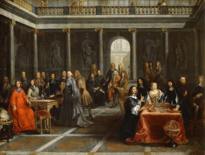 Descartes at the Court of Christina of Sweden. In 1646, the 19-year old Swedish queen Kristina, ever curious for knowledge, began to correspondence with Descartes, that focused on the issue of hate and love. Eventually she invited Descartes to come to Sweden. René Descartes arrived in Stockholm on October 1649, and resided with the French ambassador Chanut. However he had to wait until December 18 before starting private lessons with the young queen, lessons that gave her an insight into Catholicism, the religion to which she later on converted. Kristina's schedule was rigid, and their private lessons in philosophy and religion were scheduled for 5 in the morning in the freezing castle library. Perhaps that was too much for the aging Frenchman, who was used to sleeping in. On February 1650, Descartes fell ill with pneumonia, and he died ten days later. Oil on canvas painted by Pierre Louis Dumesnil (1698-1781), French painter. Collection: Musée National des Châteaux de Versailles et de Trianon, France. (CC BY-NC-SA 2.0).