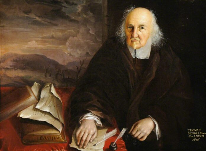 Thomas Hobbes (1588–1679), aged 89. Oil on canvas painted 1676 by anonymous. Collection: National Trust for Places of Historic Interest or Natural Beauty, England, Wales and Northern Ireland. Public Domain.