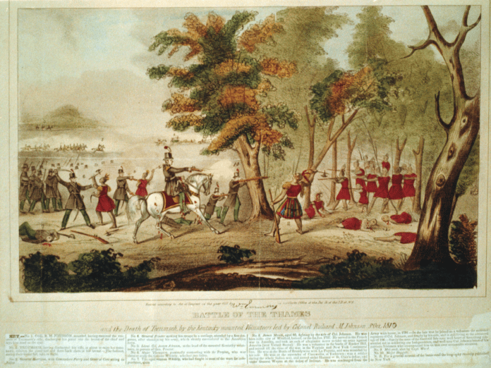 Battle of the Thames and the death of Tecumseh, by the Kentucky mounted volunteers led by Colonel Richard M. Johnson, 5th Oct. 1813. Lithograph, hand coloured made 1833 by William Emmons (1792-1875). Collection: the United States Library of Congress's Prints and Photographs division. Public Domain.