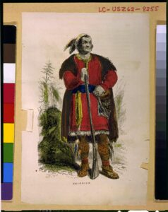 Chief Tecumseh. Wood engraving, Hand-colored 1860-1900. Artist Unknown. Collection: Library of Congress Prints and Photographs Division Washington, D.C. 20540 USA. Public Domain.
