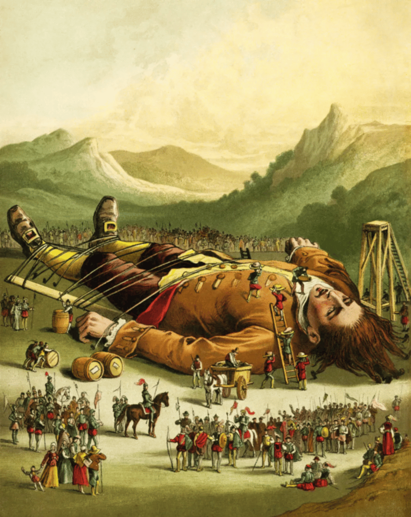 Gulliver tied up by the Lilliputians, from Gulliver's Travels: Coloured Picture Book for the Nursery, Thomas Nelson and Sons, London, Edinburgh, New York, 1883. Illustrator: Unknown. Public Domain.
