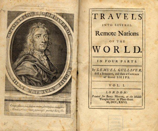 Travels Into Several Remote Nations of the World, London 1667. Title page of first edition of Gulliver's Travels by Jonathan Swift. Public Domain.