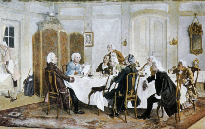 Immanuel Kant with friends, including Christian Jakob Kraus, Johann Georg Hamann, Theodor Gottlieb von Hippel and Karl Gottfried Hagen. Painted in 1892/1893 by Emil Doerstling (1859-1940), German painter. Public Domain.