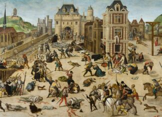 The Massacre of San Bartolomé - an event in the French Wars of Religion. Oil on walnut wood painted between circa 1572 and circa 1584 by François Dubois (1529–1584), French painter. Collection: Musée cantonal des Beaux-Arts, Lausanne, Suisse. Public Domain.