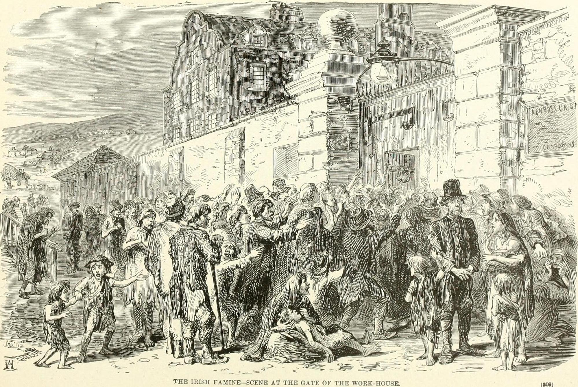Scene at the gate of the workhouse, c. 1846. From Ridpath's history of the world : being an account of the principal events in the career of the human race from the beginnings of civilization to the present time, comprising the development of social instititions and the story of all nations. Publisher: Cincinnati, Ohio : Jones Brothers, Year: 1907 (1900s). Author: John Clark Ridpath (1840-1900). No known copyright restrictions.