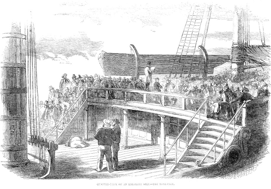 Coffin ship on its way to America. From Illustrated London News, July 6, 1850. Public Domain.