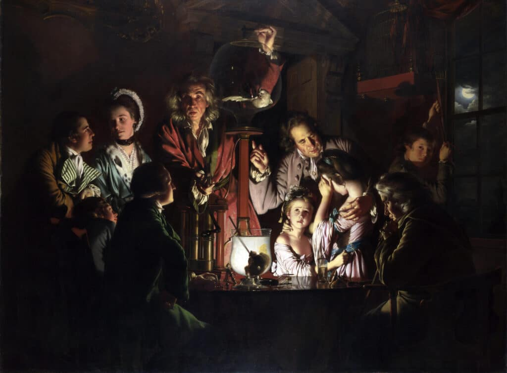 An Experiment on a Bird in an Air Pump by Joseph Wright of Derby, 1768. Oil on canvas paintet by Joseph Wright of Derby (1734–1797), English painter and draughtsman. Collection: National Gallery, London. Public Domain.