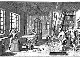 Illustration fra Diderots Encyclopédie, udg. i Frankrig 1751-1766, som viser et typisk bogbinderi fra perioden. Public Domain.