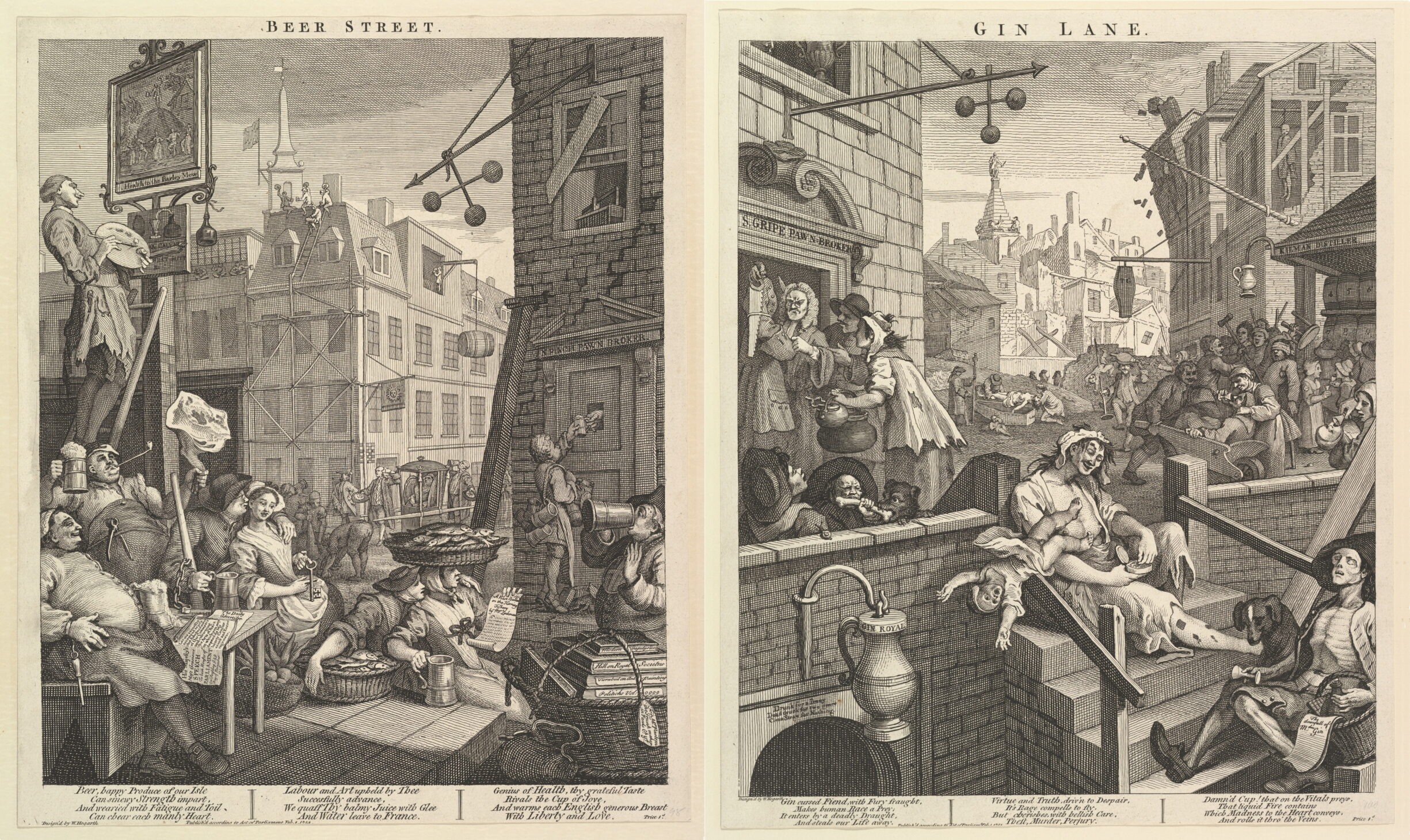 """Combined image of """"Beer Street"""" and """"Gin Lane"""". Two Engravings made 1751 by William Hogarth (1697–1764), British painter and engraver. Public Domain."""